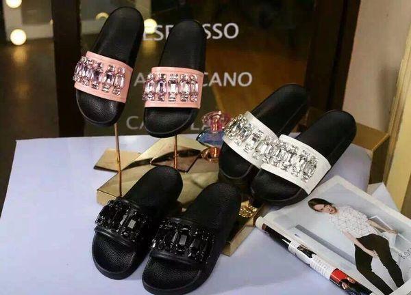 hot! top quality!u583 40 genuine leather rhinestone slide flat sandals g flip flops luxury designer gem pink white black women 2016 fashion