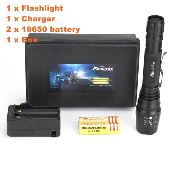 Alonefire H200 CREE XM-L T6 LED High power Hunting Waterproof Zoomable Flashlight Torch light With 2x18650 Battery Charger