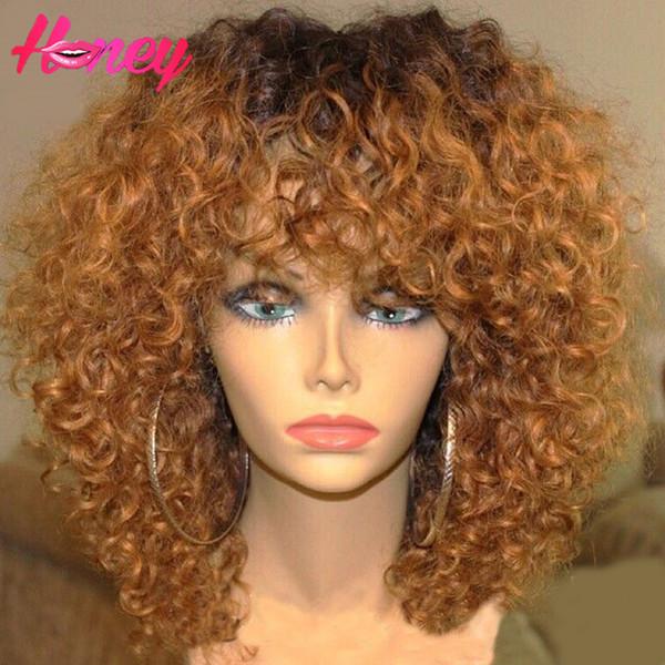 Ombre Cheia Do Laço Perucas de Cabelo Humano Glueless Virgem Peruano Kinky Curly Remy Peruca Dianteira Do Laço Do Cabelo Dois Tons Cor Lace Wigs