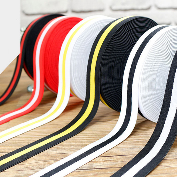 top popular 2.5cm Striped Crochet High Elastic Band Wide Flat Ribbons Diy Accessories Sewing Clothing Garment Accessories Webbing 2021