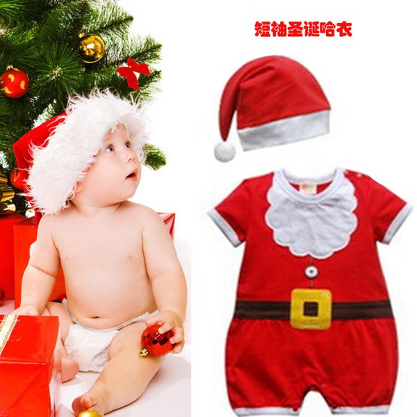 cker Christmas santa claus cosplay Costume 90cm kid children's short sleeve clothes and Hat Plus for birthday party decor