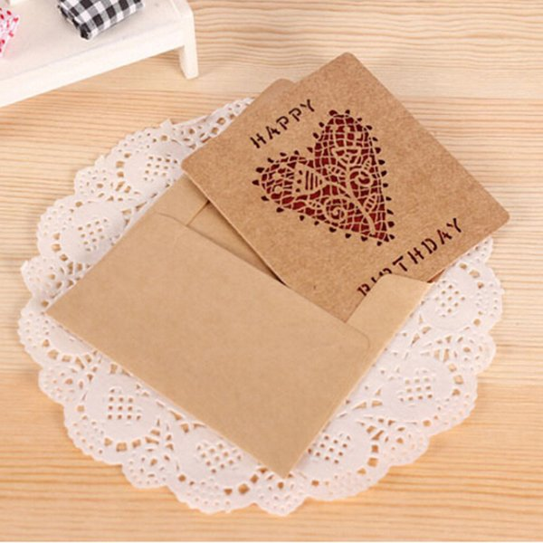 15pcs/lot New Creative Delicate Hollow Out Kraft Paper Birthday Greeting Card Elegant Envelope Lovely Gift Card Creative Free Shipping