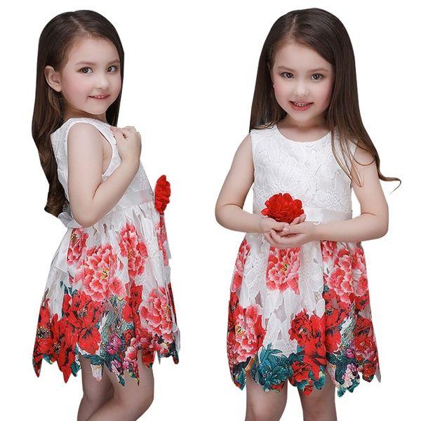 Prettybaby Flower Girls Vestido De Noiva 2016 Verão Sem Mangas Impresso Flor Vestidos de Alta Qualidade Meninas Princesa Partido Roupa Dos Miúdos