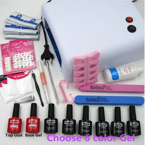Manicure Tools 36W UV Lamp + 6 Color 10ml Soak off Gel Nail Base Gel Top Coat Polish with Remover Practice Set File Kit