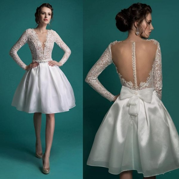 Discount Wedding Dresses Beaded Lace Bridal Gowns Illusion Neckline ...