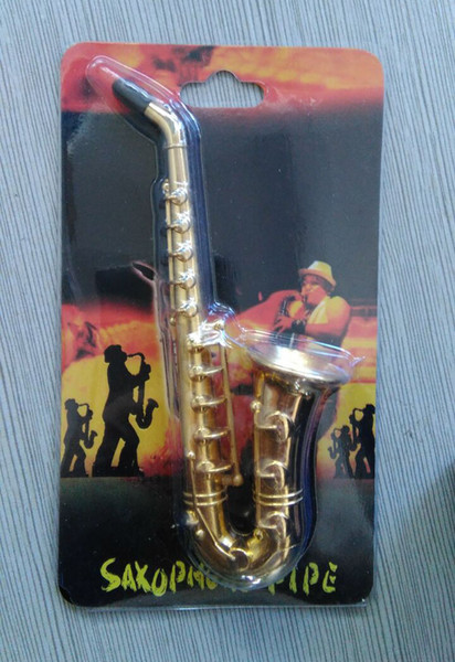 "4.8"" inches big size Creative saxophone Shape Metal pipes saxophone Smoking Pipe tobacco pipe With retail package Novelty items Gift for men"
