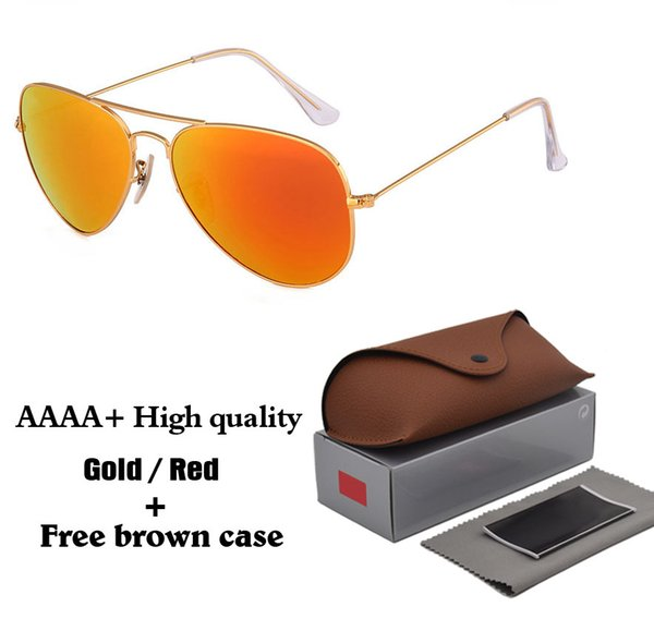 18 colors High quality Brand Designer Fashion Mirror Pilot Sunglasses Men Women UV400 Glass lens Vintage Sport Sun glasses With box and case