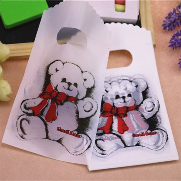 New Design Wholesale 50pcs/lot 9*15cm High Quality White Lovely Bear Small Present Packaging Bags Plastic Gift Bags