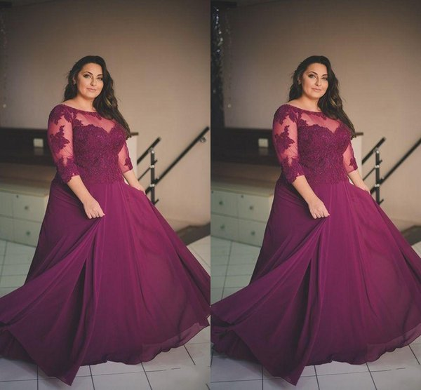 Plus Size Evening Dresses With 3/4 Long Sleeves Scoop Sheer Neck Lace Appliques Prom Dress Long Sequins Mother Of The Bride Dresss
