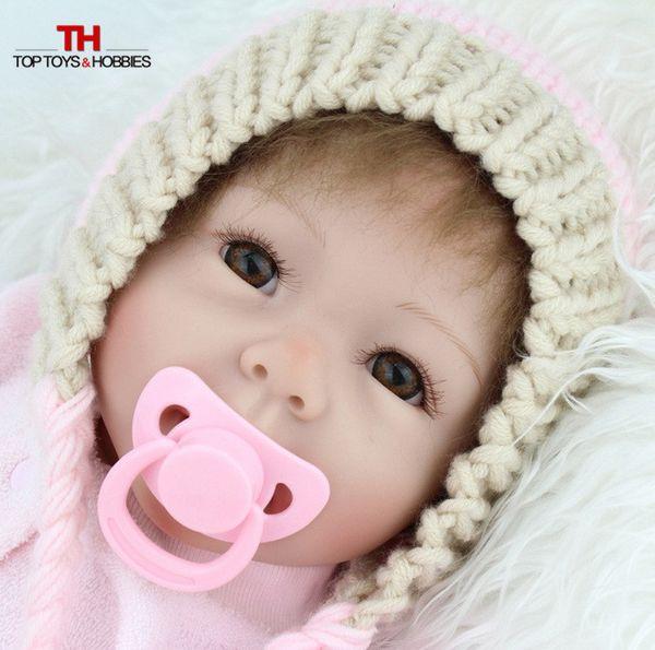 Al por mayor-55cm de silicona de vinilo Reborn Baby Doll Toy Realista Pink Princess Nuevo nacido de niño Muñeca-Reborn Girl Child Brithque regalo Brinquedos
