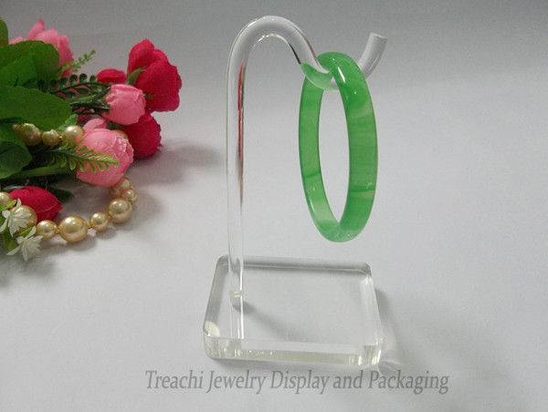 one piece Super Clear Acrylic Jewelry Display Props Bracelet Chain Stand Rack for Bangle Holder Shelf with Hanger free shipping