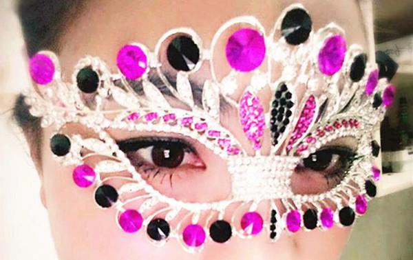 Rhinestone Venedik Masquerade Maskeleri kadınlar seksi Metal eyemask düğün tavuk gece parti taç maskesi Cadılar Bayramı Noel şenlikli malzemeleri hediye