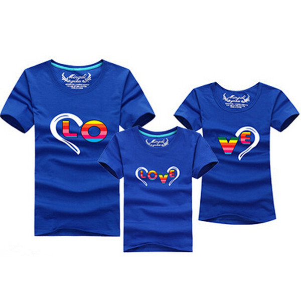 Wholesale-2016 Fashion Family Matching Outfits Heart-shaped T-shirt 12 Clors For Korean family clothes mother father daughter Son clothes
