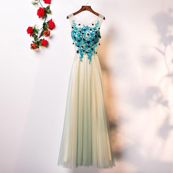 2018 Sweety Girls Prom Dress Long 3d Flower Green Applique Prom ...