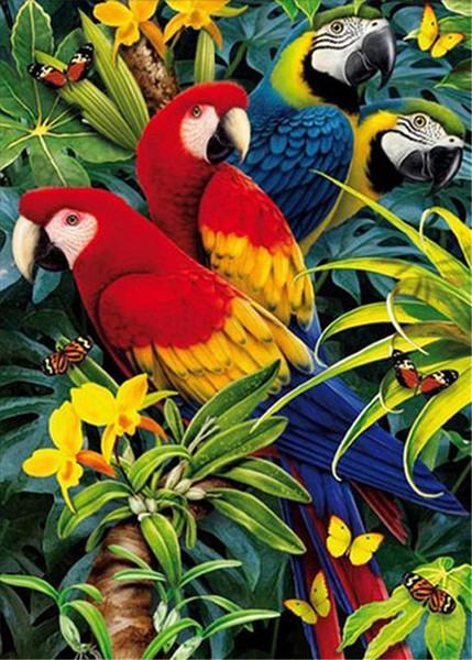 New DIY 5D Mosaic Diamond Painting Cross Stitch kits animal parrot lover full Resin round Diamonds Embroidery needlework Home Decor yx0062