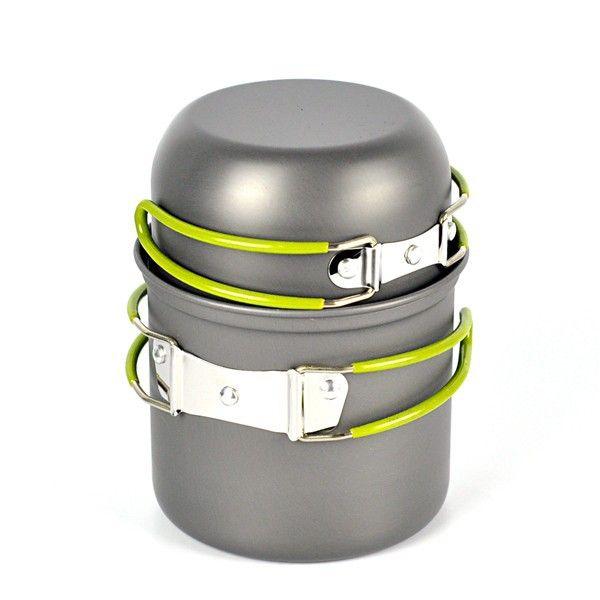 2 adet / takım Taşınabilir alüminyum kamp pot setleri Pot Pan Kase tencere mini Açık Yürüyüş Pişirme Seti