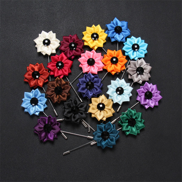 BoYuTe 50Pcs High Quality Hand Made Fabric Flower Brooch Groom Wedding Boutonniere Lapel Pins for Men Fashion Jewelry