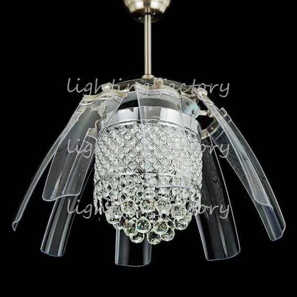 best selling 42 inch Led Ceiling Fans Light AC 110V 220V Invisible Blades crystal wings Ceiling Fans Modern Fan Lamp Living Room Bedroom Chandeliers