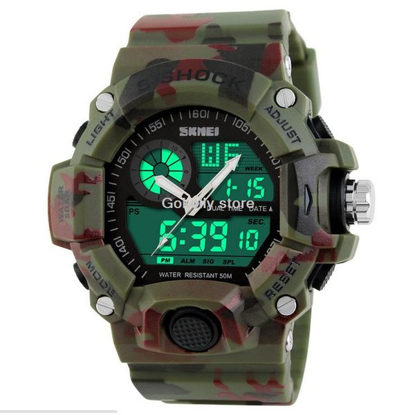 2016 Quartz Digital Camo Watch Men Dual Time Man Sports Watches Men Skmei S Shock Military Army Reloj Hombre LED Wristwatches