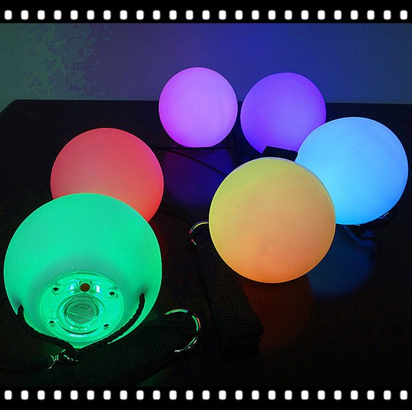 Colorful RGB LED POI Thrown Balls for Professional Belly Dance Level Hand Props Party Stage Performance Accessories