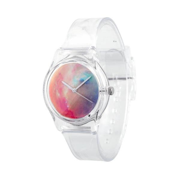 Şeffaf Plastik Kayış Bant Hediyesi ile Sıcak Moda Vintage Kadın Quartz Analog Yıldızlı Bileklik Saat