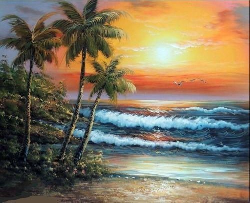 Framed Hawaii Sunset Surf Beach Palm Trees Sand Free Shipping Hand-painted /HD Print Seascape Art oil painting On Canvas Multi sizes
