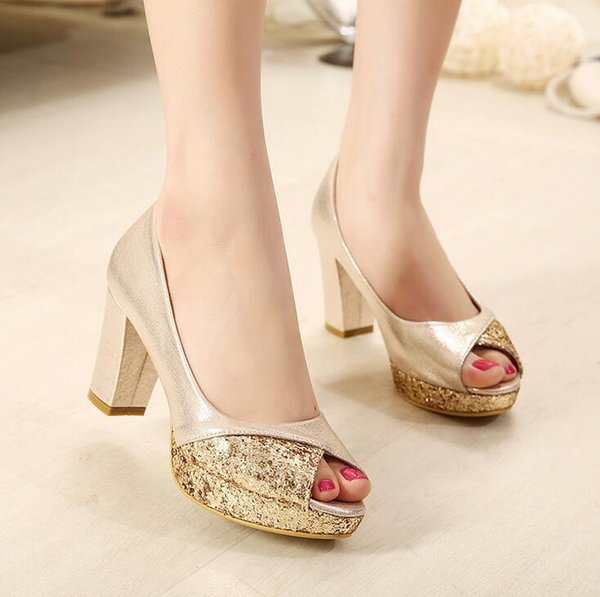 Glitter Sequins Gold Heels Silver Wedding Shoes Bride Comfortable Mid Heel Pumps Princess Style Prom