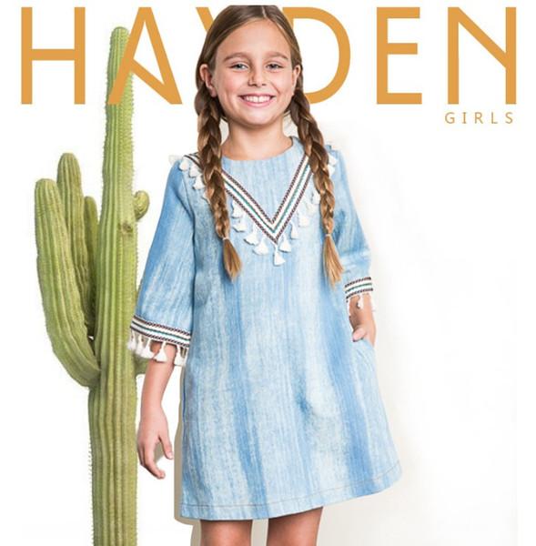 Compre Outono Europa E América Moda Indiano Design Denim Borla Vestidos Crianças Meninas Vestido Lavado Azul Big Girls Reta Dress Clothing De