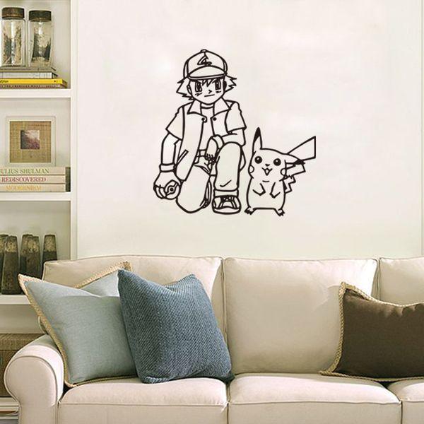 Poke wall sticker Ash Ketchum and pikachu cartoon sickers black white sketch stickers 56*57cm for kids room Decor T403-1