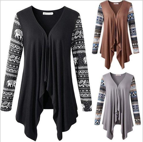 Geometric Cardigan Women Long Sleeve Sweater Fashion Jacket Loose Knitted Coat Casual Pullovers Knitwear Poncho Outwear Jumper Tops B2652