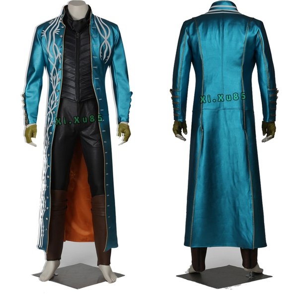 High Quality Cosplay Costume Movie Performing Devil May Cry 2 Dmc Vergil Coat Game Halloween Party Hand Made Adults Suit Groups Of Four Costumes