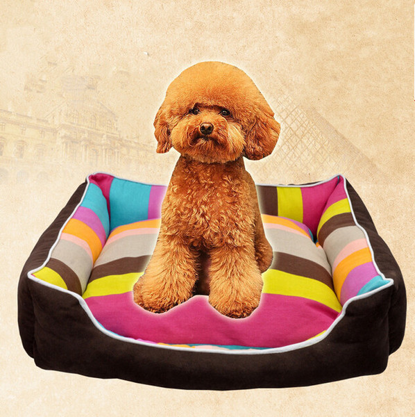 Lovely Rainbow Pet House Warm Good Quality Dog Cat House Kennel Soft Washable Pet Dog Cat Nest For Winter Coffee Color 4 Size Min Order 1PCS