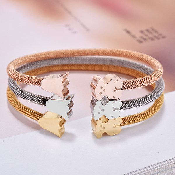 Fashion Brand New Panda style Gold Silver Rose gold Colors Women Female Jewelry open cuff crowns bears bangle bracelet pulsera mujer osos