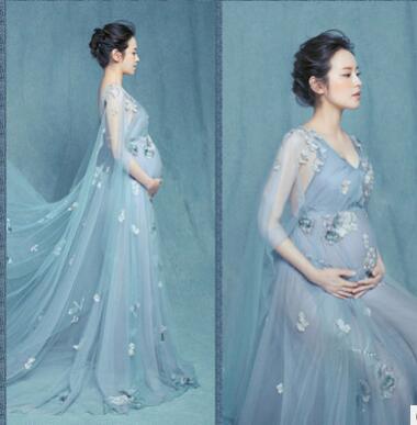 Lace Maternity Maxi dresses Maternity Photography Props Chiffon Dresses Off Shoulders Maxi Pregnant Dresses Pregnancy Photo Shoot
