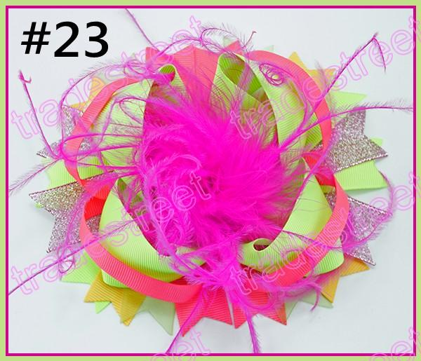 free shipping 120pcs 6'' over the top bows for hair feather hair bows with great clip for hair barrette big sport clips hair acessories