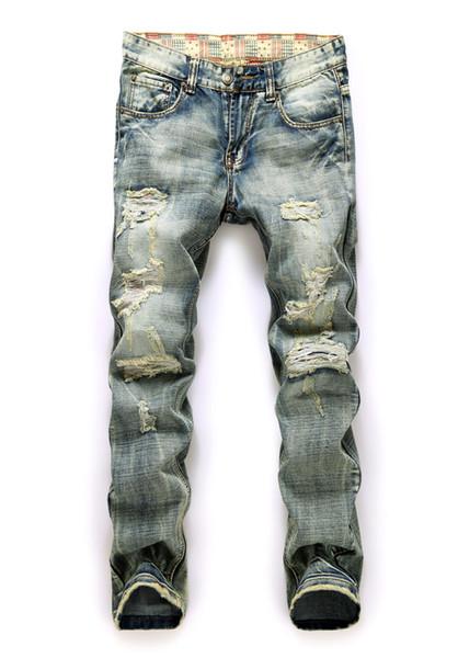 2016 Hot men jeans famous brand new vintage fashion design motorcycle hole torn denim trousers Slim Fit pants size 30-38