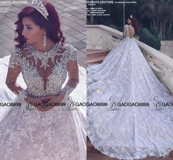 2016 erstaunlich Sparkly Kristall Perlen Spitze Langarm Brautkleider Royal Train Nahen Osten Arabisch Luxus Ballkleid Brautkleid