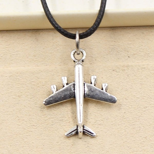 12pcs New Fashion Tibetan Silver Pendant airplane 27*21mm Necklace Choker Charm Black Leather Cord Factory Price Handmade Jewlery