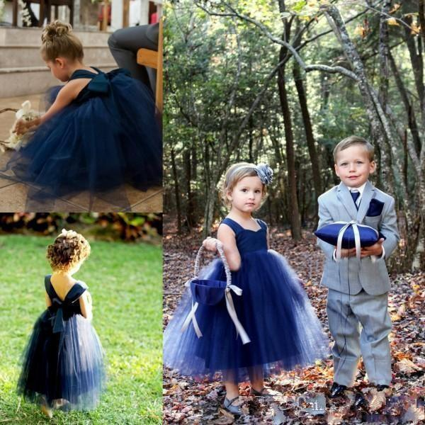 05a52d87e 2017 Sweety Ball Gown Navy Blue Flower Girl Dress Straps Bow Tulle ...
