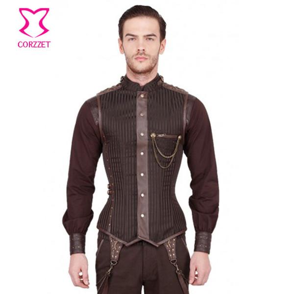 Outono-punk marrom / preto listrado gola overchest zipper mens steampunk espartilho colete gótico clothing jaqueta vintage homens colete
