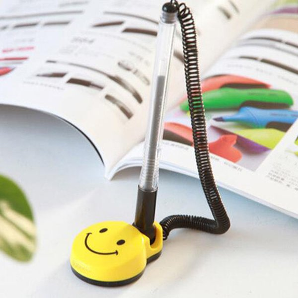 8Pcs/lot 0.5mm Desktop Gel Pens Holder Swivel Stand Smile Face Desk Office Front Desk Counter Pen Pasted Signing Pen