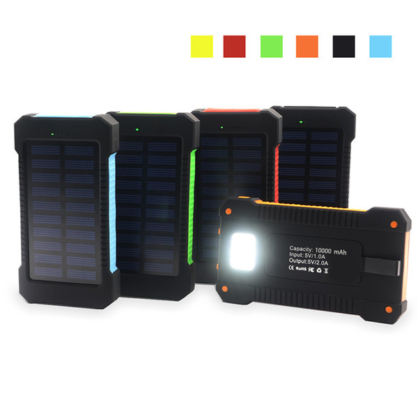 top popular Waterproof compass solar power bank 20000mah universal cellpPhone battery charger with LED flashlight and compass camping light for outdoor 2019