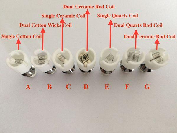 Quartz atomizer dual wax coil ceramic Donut rebuildable atomizer core for wax Glass globe vaporizer pen herbal vapor replacement e cigs