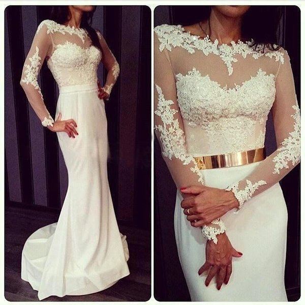 White Chiffon Lace Appliques Prom Dresses Long Sleeves With Gold Metal Belt 2019 Sexy Mermaid Party Dresses Evening Wear Cheap