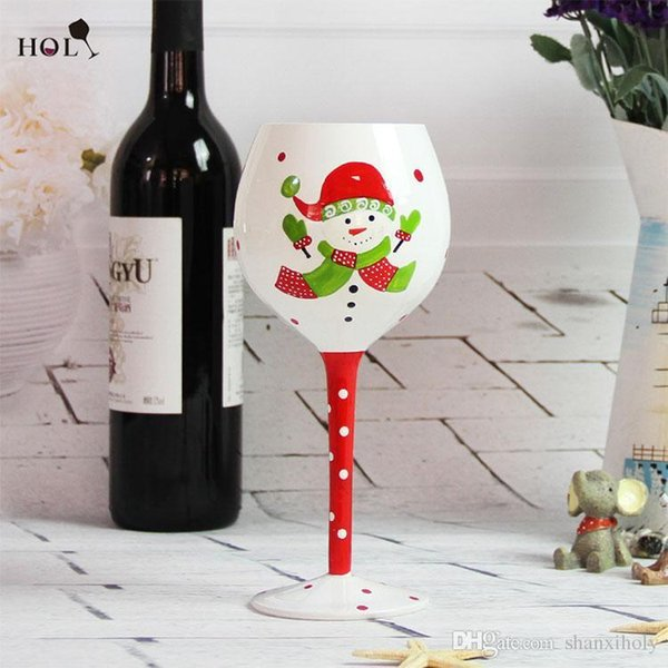 Hand painted egg shaped cup red wine glass