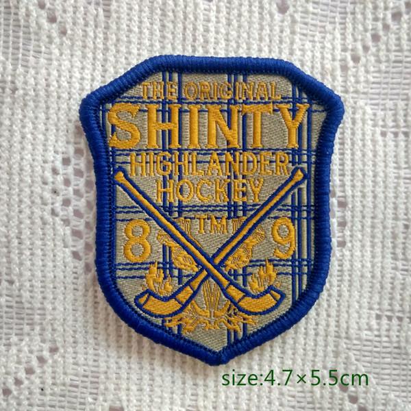 Das Original Shinty Highlander Hockey Abzeichen Nähen auf Patch Shirt Hosen Weste Mantel Rock Tasche Kinder Geschenk Baby Dekoration