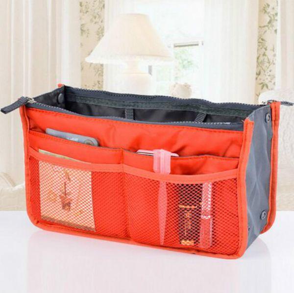 wholesale Women Lady Travel Makeup Insert Handbag Organiser Purse Large Liner Zipper Organizer Tidy Bag 11 Color Free Shippin