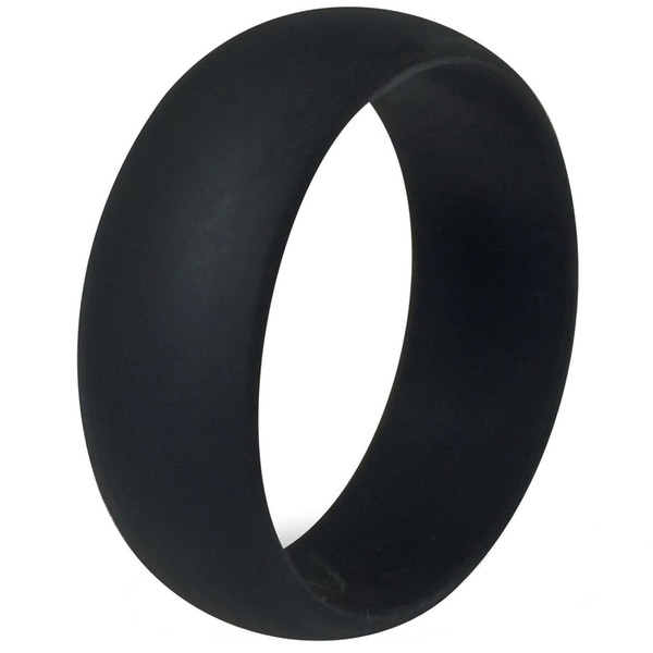 8MM Size 7-15 Black Silicone Ring Band Hypoallergenic Rubber Wedding Outdoor Party Crossfit Flexible Sports Fishing