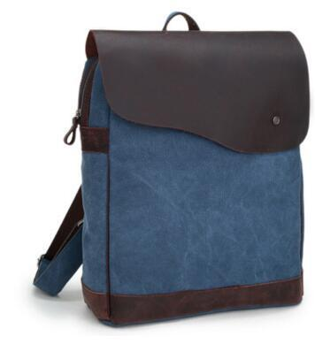 """Brand New Retro Crazy Horse Genuine leather&Canvas Men Women Hiking Travel Camping Backpack 14"""" Laptop Notebook School BagVintage backpack"""