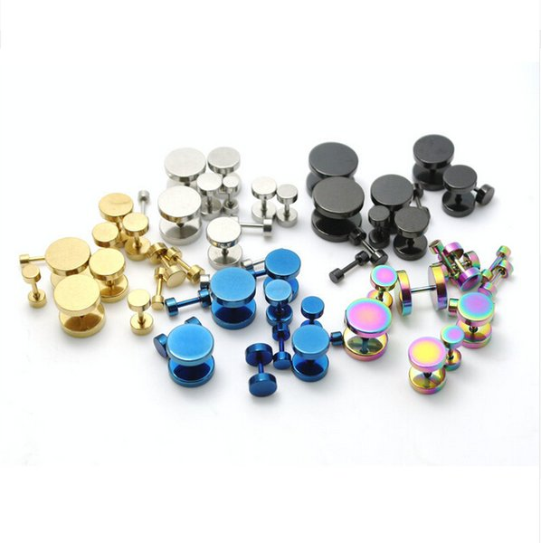 200pcs mix color size lots stainless steel round fake ear plugs steel black gold blue rainbow color cheaters studs earrings